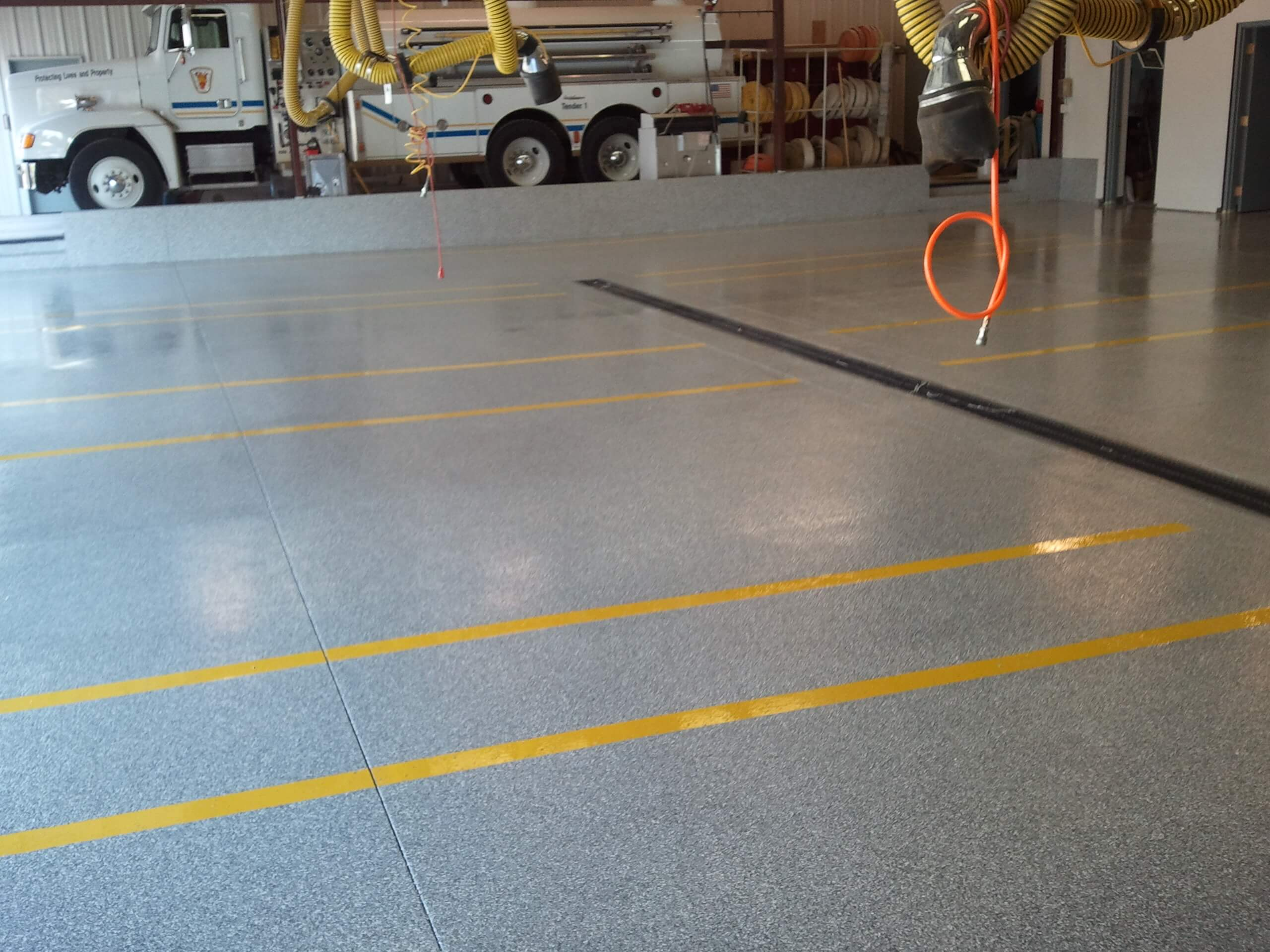 Polyaspartic floor coating at a fire deparment