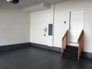 dark gray or black epoxy floor with steps coated