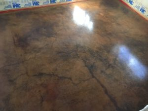 acid stained concrete in basement